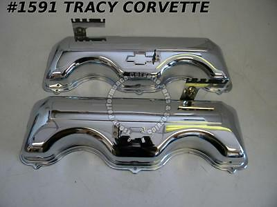 "1958-1965 Chevrolet New Repro 348 409 ""W"" Chrome Valve Covers Repro with Bowtie"