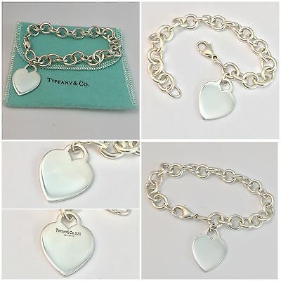 Stunning Very Heavy Solid Silver Heart Tag Bracelet Tiffany Rrp £245!