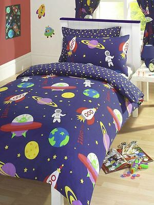Rocket Blast Off Double Duvet Cover Blue Boys Bedding Free P+P