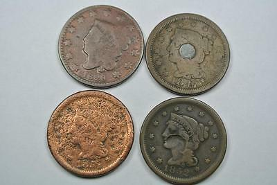 Low Grade Cheap Large Cents, 1828 1847 1851 1852  - C2684