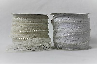 20mm x 10m Lace With Pearl Decoration Ribbon Roll Wedding Trim