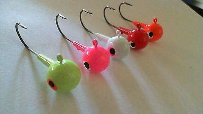 25 - 1 oz.  ROUND HEAD JIGS WITH BARB COLLAR - Black Nickle Needle Point Hooks