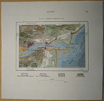 1879 Perron map: Dundee & Firth of Tay, Scotland (#167)