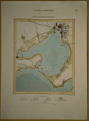 1889 Perron map MELBOURNE AND HOBSONS BAY, VICTORIA, AUSTRALIA (#166)