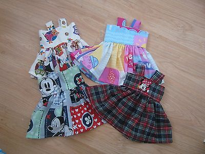 """DOLLS CLOTHES 18"""" - FITS BABY ANNABEL - 4 dresses -  HANDMADE - NEW"""