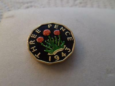 Vintage Hand Painted Threepence Coin 1943. Lucky Charm. Great Birthday Present