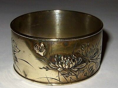 Antique Japanese Napkin Ring Water Lily Leaves Flowers Silverplate Rare Antique