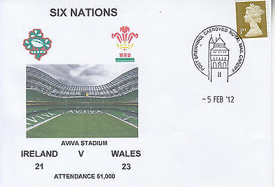 Ireland V Wales 6 Nations Rugby Envelope 5 Feb 2012