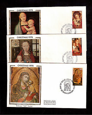 Canada 1978 Christmas # 773/75 Set Of 3 Colorano Silk First Day Covers !!