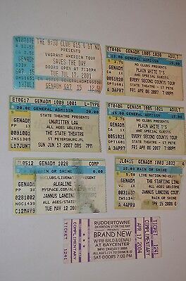 POP PUNK ROCK BAND TICKET LOT Alkaline Trio Brand New Saves Day Plain White Ts
