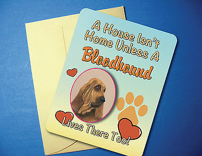 """A House Isn't Home"" - Bloodhound - Greeting Card / Blank Note Card - sku# AH-47"