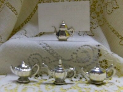 Elegant Silver Plated Teapot Tea Pot Shaped Table Name Place Cards - 4 Styles