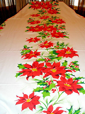 Vintage Christmas Tablecloth 50 x 100 White and Poinsettias Holly