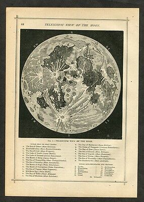 1883 Antique Astronomy Print / Map of the Moon