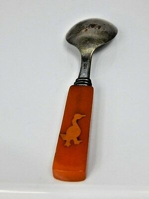 Antique Vintage E.P.N.S. Silver Spoon Children Kiddie Baby Duck Bakelite? Handle