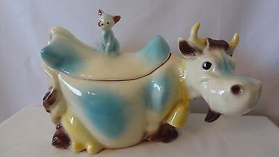 Brush McCoy Pottery 1950 W10 Rare Blue and White Cow Cookie Jar #J66.