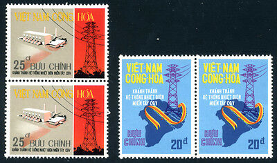 South Vietnam Pair of Unissued Stamps: Electricity, Yvert # 511-512 MNH