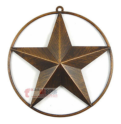 "9 1/2"" Texas Metal Barn Star Smooth Ring Brushed Copper Finish Wall Mounted"