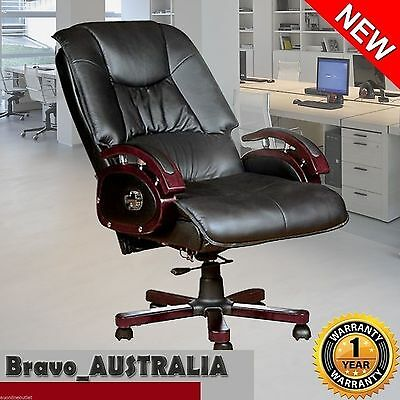 Executive Genuine Leather Office Chair Computer Recliner Chair Black