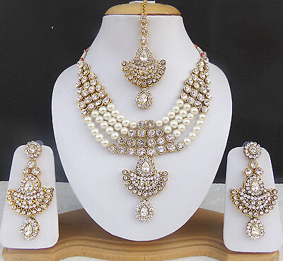 Bollywood Indian Fashion Jewelry American Ad Pearl Bridal Necklace Earrings Set.