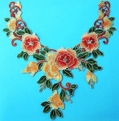 Flower Leaf Applique Rusty Orange Satiny Floral Neckline Embroidery LAST ONE