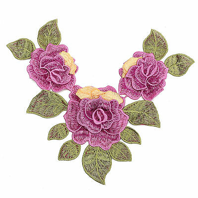 Flower & Leaf Applique Purple Satiny Rose Neckline Layered Embroidery LAST ONE