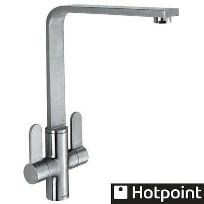 Hotpoint Luce Brushed Steel Monobloc Twin Lever Kitchen Sink Mixer Tap
