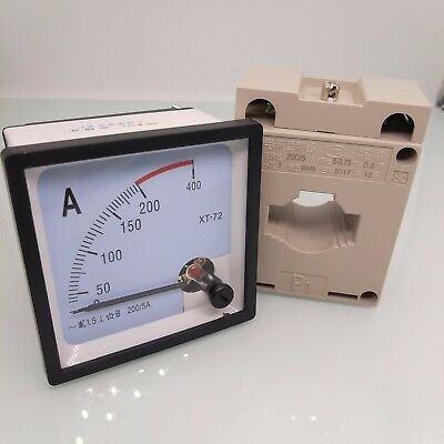 US Stock AC 0~200A Analog AMP Current Panel Meter Ammeter & Current Transformer