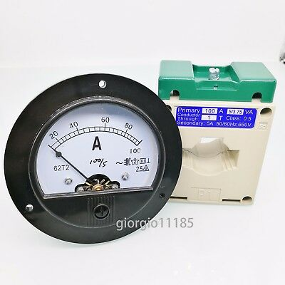 AC 0~100A Round Analog AMP Current Panel Meter Ammeter & Current Transformer