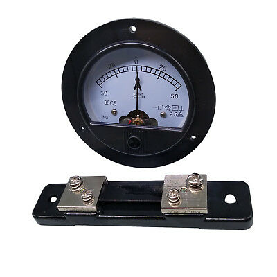 DC -50A ~ +50A Round Analog AMP Current Needle Panel Meter Ammeter & Shunt