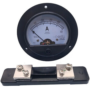 US Stock DC 0~50A Analog AMP Current Pointer Needle Panel Meter Ammeter & Shunt