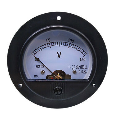 US Stock AC 0 ~ 150V Round Analog Volt Pointer Needle Panel Meter Voltmeter