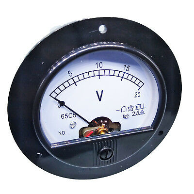 US Stock DC 0 ~ 20V Round Analog Volt Pointer Needle Panel Meter Voltmeter
