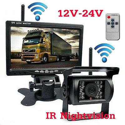 "Wireless IR Rear View Back up Night Vision Camera With 7"" Monitor for RV Truck"