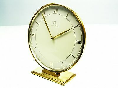 Beautiful Art Deco Bauhaus  Brass Desk Clock  Junghans Meister Germany
