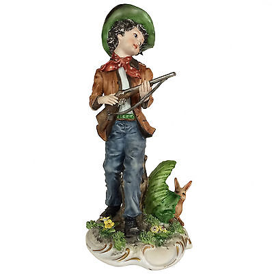 Capodimonte Porcelain Figure of Boy Hunter and Rabbit - figurine signed Ester