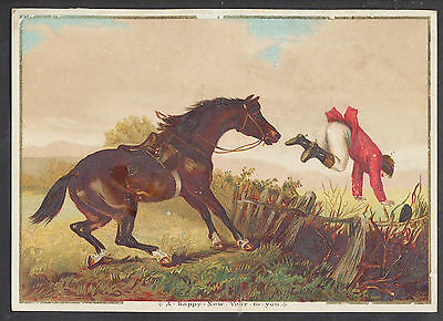 C1426 Victorian New Year Card: Hunter Being Thrown