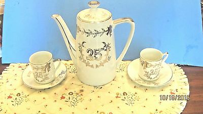 Lefton China 25th Anniversary Tea Pot & 2 Tea Cups And Saucers Whilte and Silver