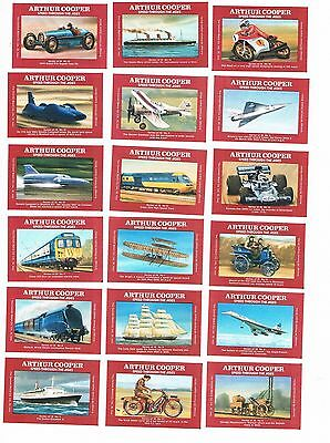 Set of 18 Cornish Match matchbox labels depicting Speed Through the Ages Ac48.