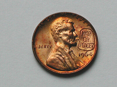 War or Peace? Counterstamped 1964 Lincoln Cent Novelty Coin Countermarked Penny