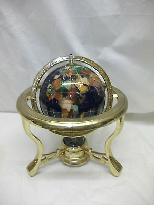Collectible Small Semi Precious Gemstone World Globe With Compass ~ 8""