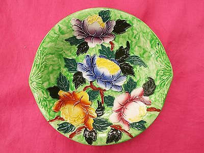 MALING Vintage Dish with Raised Design of Colourful Flowers