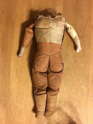 TLC Antique Brown Oilcloth  German Doll Body-one Replaced Arm