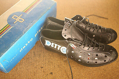 Vintage NOS NEW Detto Pietro Fausto Coppi black leather cycling shoes cleats 42