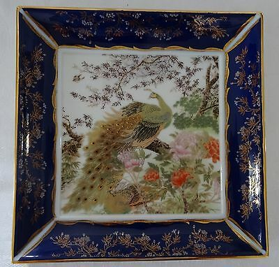 "Decorative Plate 9 1/2"" square PEACOCK Cobalt Blue border Gold Accents striking"