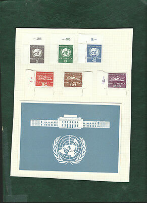 Switzerland Helvetia United Nations stamps and a postcard MH