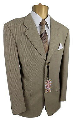 "VINTAGE M&S St Michael  MENS BEIGE 3 BUTTON BLAZER JACKET CH40"" HERRINGBONE"