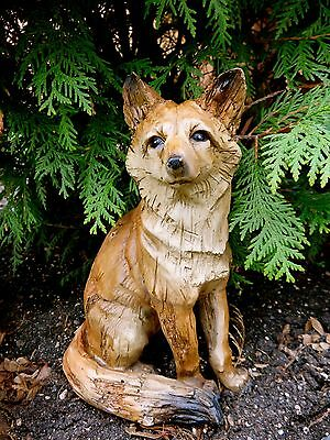 9 INCH FOX SITTING FIGURINE resin animal Statue COUNTRYSIDE SMART SLY RED NEW