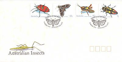 Australia 1991 Insects Set Of 4 Official First Day Cover Moth Beetle Grasshopper