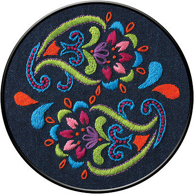 """""""Bohemian Paisley Stamped Embroidery Kit-6"""""""" Round"""""""